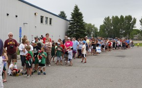 People lined up over an hour early waiting for the Wild players to arrive at Moorhead Youth Hockey.